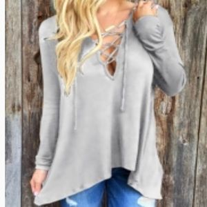 Lace-Up Front, Long Sleeve Hooded Tee